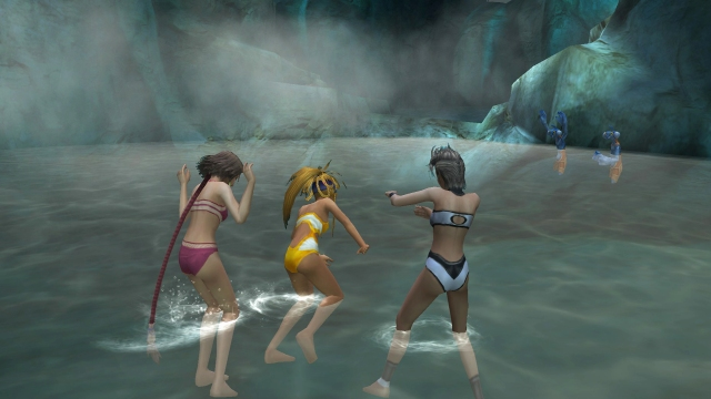 (left to right) Yuna, Rikku, Paine - Hot springs scene @ Mt. Gagazet
