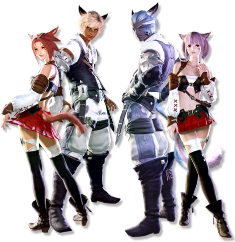 Male and female Miqo'te - Final Fantasy XIV