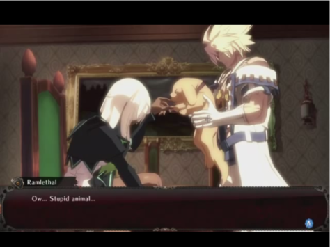 Ramlethal with Sin and the magehound who bites her. Classic scene.