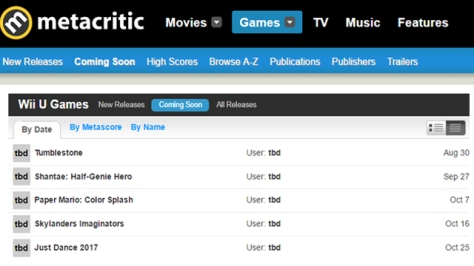 THAT'S THE ENTIRE CALENDER FOR WIIU ON METACRITIC!!!